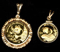 China Panda Gold Coins in bezels