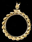 14K Diamond Cut Rope coin Bezel