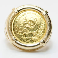 1991 China Panda 5 Yuan 1/20 oz. Gold Coin in 14K gold mounting