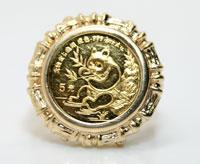 1991 China Panda 5 Yuan 1/20 oz. Gold Coin in 14K gold bamboo mounting