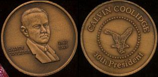 Calvin Coolidge 1923 - 1929 30th President Brass Round