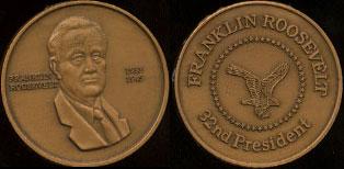 Franklin Roosevelt 1933 - 1945 32nd President Brass Round