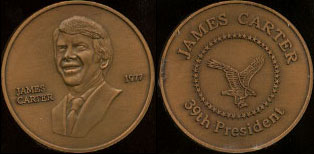James Carter 1977 39th President Brass Round