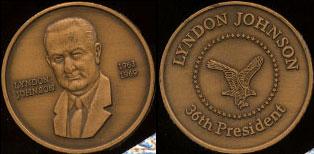 Lyndon Johnson 1963 - 1969 36th President Brass Round