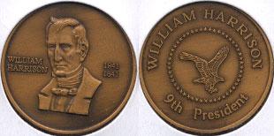 William Harrison 1841 - 1841 9th President Brass Round