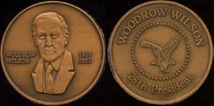 Woodrow Wilson 1913 - 1921 28th President Brass Round