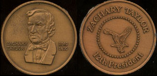 Zachary Taylor 1849 - 1850 12th President Brass Round
