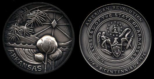 Arkansas American Revolution 1776-1976 Bicentennial 4.3 oz Medal