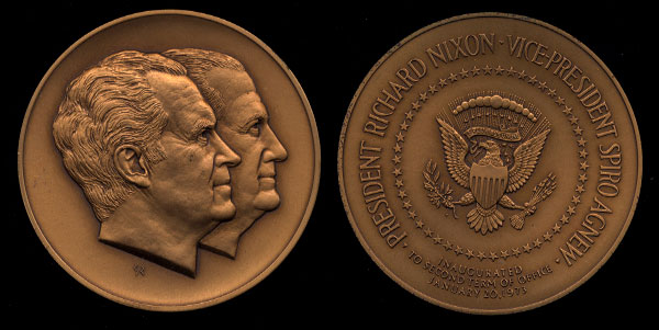 President Richard Nixon Vice President Spiro Agnew Inaugurated Bronze 70mm Medal