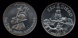1769-1969 San Diego 200th Anniversary .999 Fine Silver 35mm medal