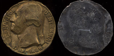 Unknown George Washington Centennial Round 1789-1889 Metal Unknown