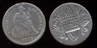 1875 seated Dime CHO or HCO Love Token