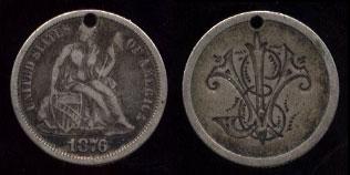 1876 Seated Dime JV or VJ Love Token