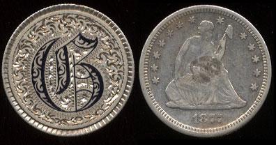 """1877 Seated Quarter """"C"""" Enameled Love Token"""