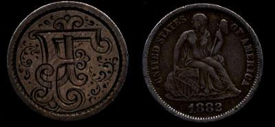 1882 FJ Dime