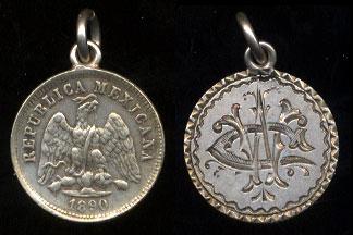 1890 Mexico 10 Centavos CW or WC Love Token