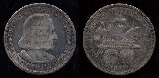 "1893 Columbian Half Dollar ""EH"" to ""WPM"" Love Token"