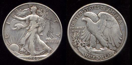 "1946 Walking Liberty Half Dollar With ""FORD"" Logo Engraving"