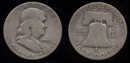 "1953 Franklin Half Dollar With ""FORD"" Logo Engraving"