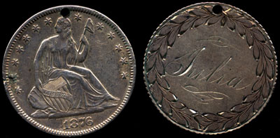 1876 Julia Seated Half Dollar Love Token