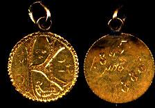"""KJ"" Gold Token on Type I Liberty Head Gold Dollar"