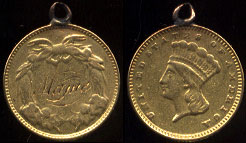 "Love Token  ""Mame"" On US Type III $1 Gold Coin Pendant"