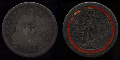 """1854 Seated Quarter Enameled with """"P"""" Love Token"""