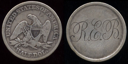 "New Orleans Seated Half Dollar ""R.E.B."" Love Token"