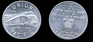 1934 Union Pacific  Lucky Piece 32mm Token