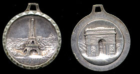 "Vintage Eiffel Tower ""Tour eiffel Paris""Silver High Relief Pendant"