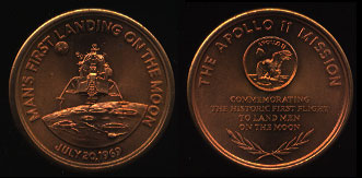Man's First Landing on The Moon 1969 The Apollo 11 Mission Copper Round