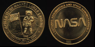 Apollo 11 1st Manned Lunar Landing NASA Yellow Brass