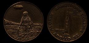 Apollo XI Aldrin Armstrong Collins 1969 Lunar Landing Bronze Art Medal