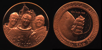 Apollo XII 1969 Return to the Moon Copper Round