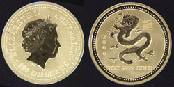 Australia Year of The Dragon Gold Coin
