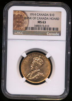 NGC MS-63 1914 Bank of Canada Hoard 10$ Canada Coin
