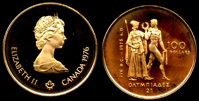1976 Canada $100 Gold Coin Olympics Proof