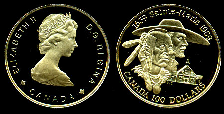 1989 Canada $100 Proof Gold Coin Sainte-Marie