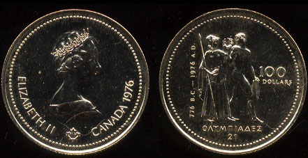 1976 Canadian $100 Choice Uncirculated Gold Coin Purity: 58.3% Fine Gold Weight: .25 ounces