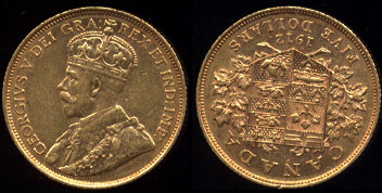1812 Canada $5 Gold Coin King George V AU Gold Coin