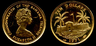 1971 Bahamas $10 Gold Coin