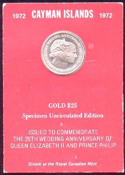 Cayman Islands 1972 $25 Uncirculated Gold Coin