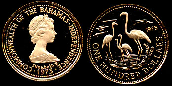 Bahamas 1975 Proof $100 Gold Coin