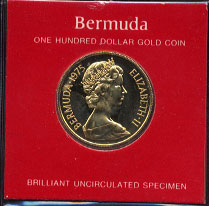 1975 Bermuda $100 Gold Coin Brilliant Uncirculated Specimen  Weight: .20 Ounces