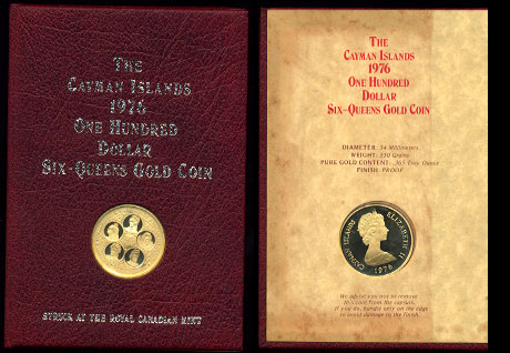 Cayman Islands One Hundred Dollars  Proof Issue 1976  Six-Queens Gold Coin