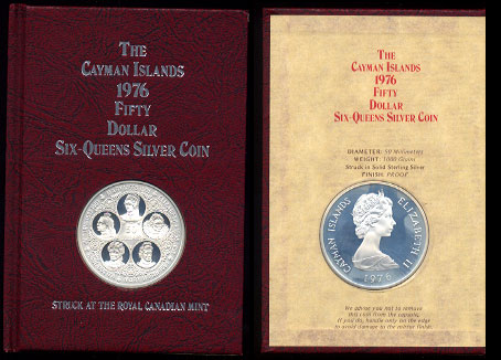 Cayman Islands Fifty Dollars Proof Issue  1976  Six-Queens Silver Coin