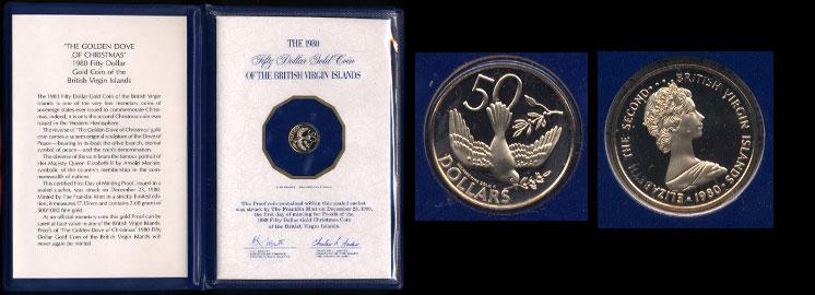 British Virgin Islands 1980 50 Dollars Golden Dove of Christmas Gold Coin