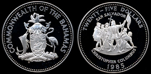 1985 Bahama $25.00 Silver Proof w/ Box