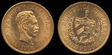 1916 Republic of Cuba 10 Peso UNC Gold Coin