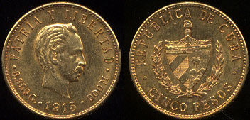 1915 Cuban 5 Pesos Gold Coin